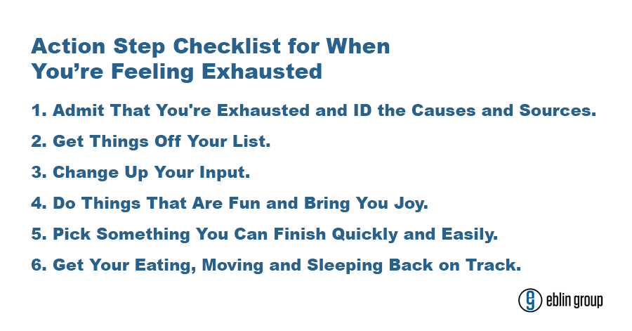 Action Step Checklist for When You're Feeling Exhausted